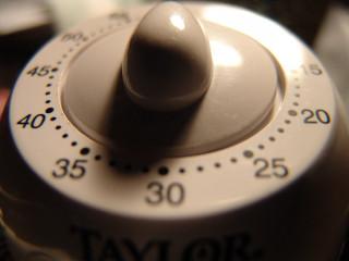 A wind-up kitchen timer