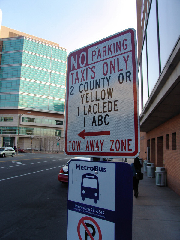 No Parking, Taxi's Only, 2 County or Yellow, 1 Laclede, 1 ABC, Tow Away Zone