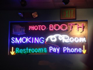 """Neon"" sign: Photo Booth, Smoking Room, Restrooms, Pay Phone"
