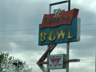 Neon sign for the Tropicana Lanes Bowl