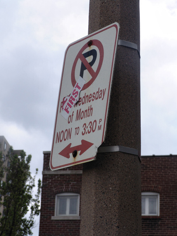Sign: No Parking - First Wednesday of Month, Noon to 3:30PM