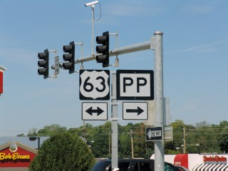 U.S. Route 63 and Route PP signs