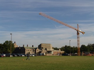 A Crane looms over Mudd Field