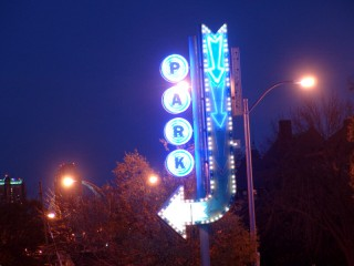 Neon sign: PARK