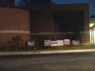 Campaign signs outside a library