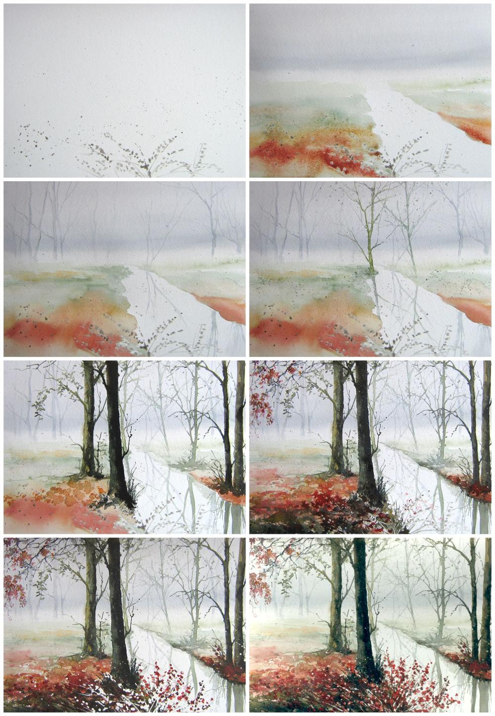 Рисунки акварелью пейзажи поэтапно для начинающих