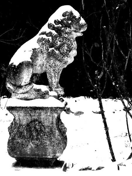 Lion statue under the snow