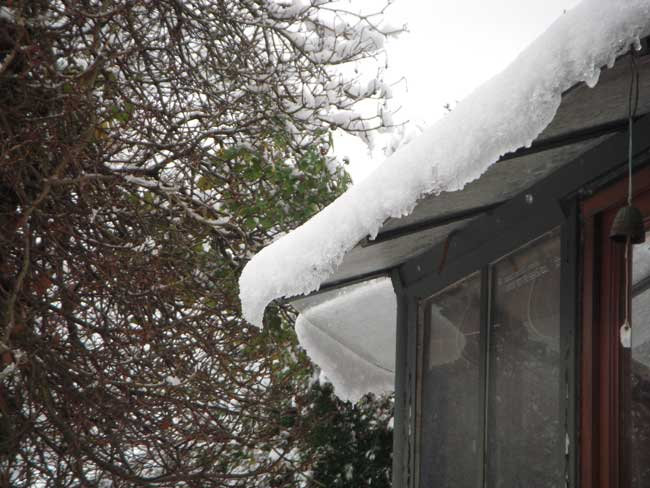 Veranda roof under the snow