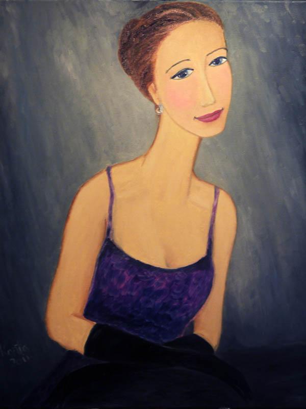 живописный портрет девушки в черных перчатках, портрет на холсте маслом