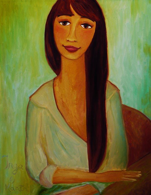 Инга. Портрет девушки в рубашке, портрет маслом на холсте