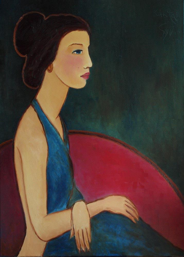 Портрет девушки в красном кресле