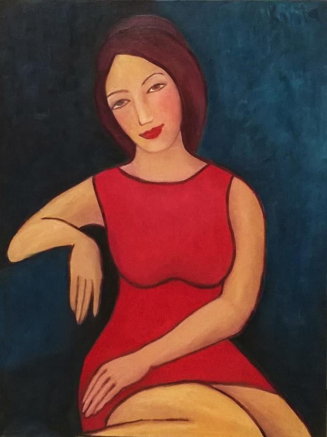 Девушка в красном платье и кошка