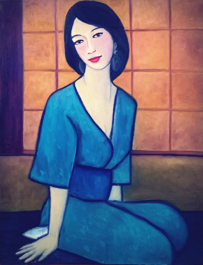 Портрет девушки в кимоно