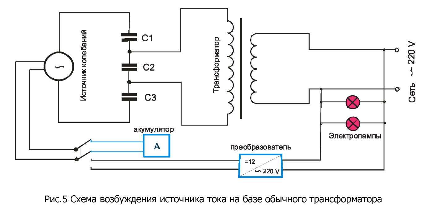 Рабочую схему генератора свободной энергии