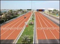 В ОАЭ на участках дороги с ограничением скорости уложат красный асфальт