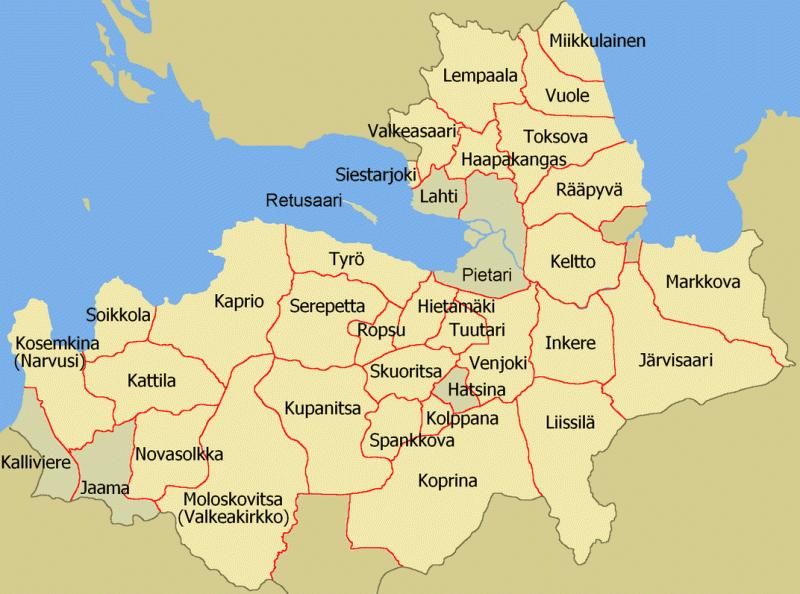 Карта приходов церкви Ингрии, примерно показывающая историческую территорию Ингерманландии