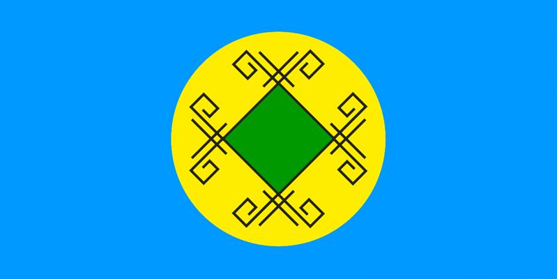 Флаг шорцев, разработанный в 2005 году. Фигурирует также вариант без чёрных узоров