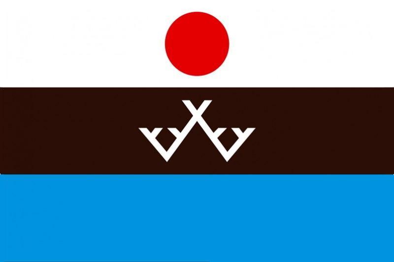 Национальный флаг эвенков, продемонстрированный на торжественной церемонии открытия Межрегионального центра культуры и языка эвенкийского народа в селе Иенгра 19 июня 2011 года