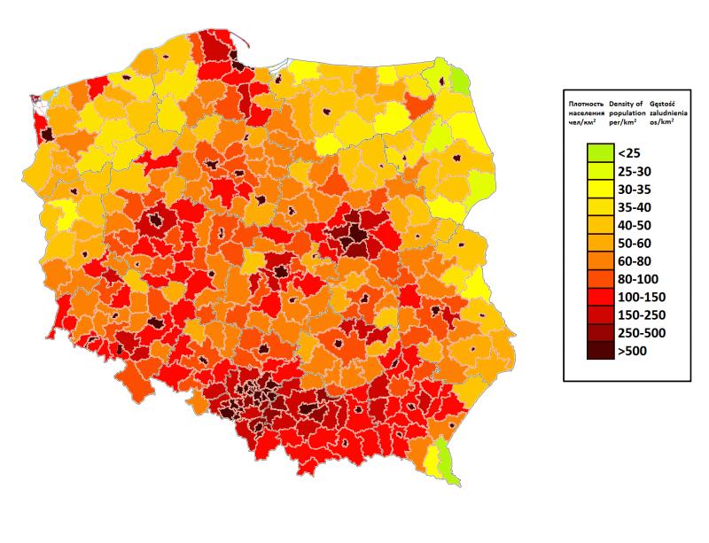 Размазано, но прослеживается исторически устоявшаяся территория Польши, плюс густонаселённая Силезия