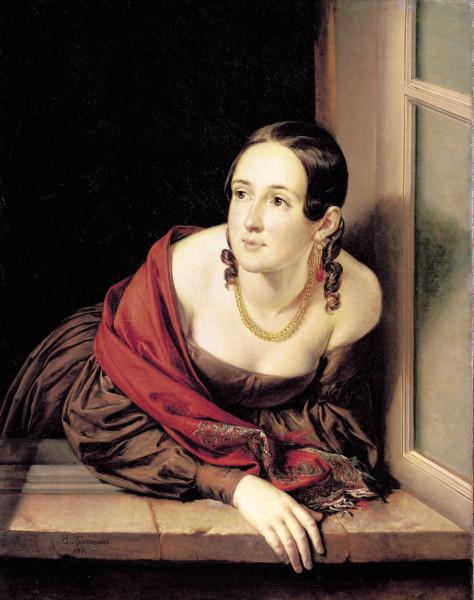 Василий  Тропинин (1776-1857)  Женщина в окне  1841 год