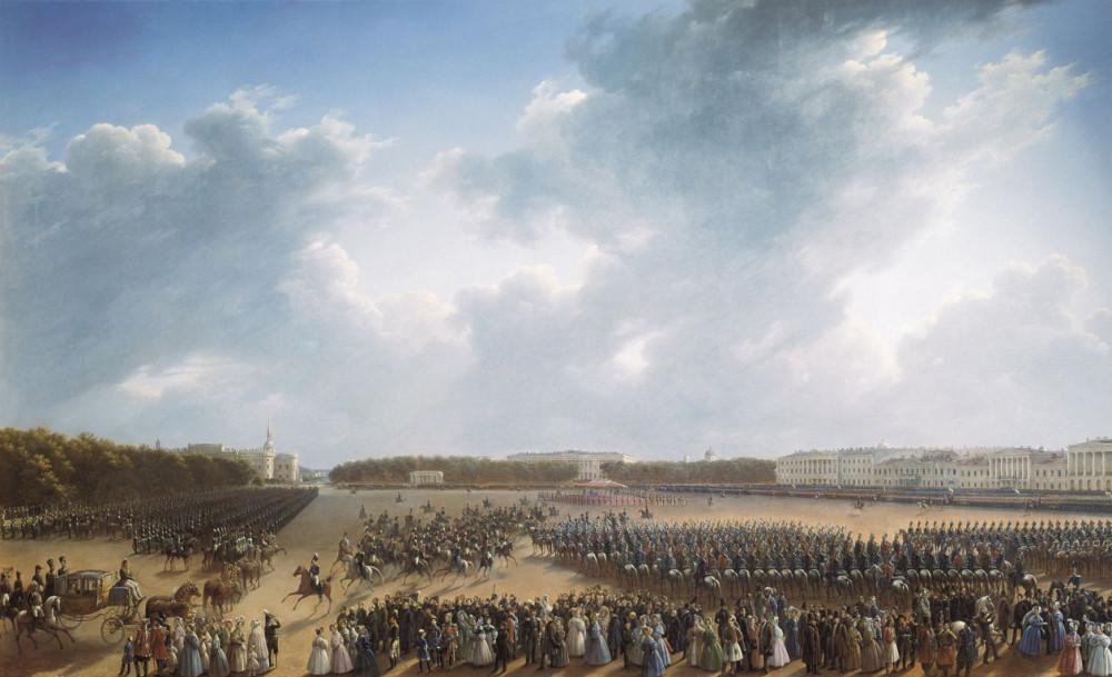 Г Чернецов Парад по случаю окончания военных действий в Царстве Польском 6 октября 1831 года на Царицынском лугу в Петербурге 1837 год