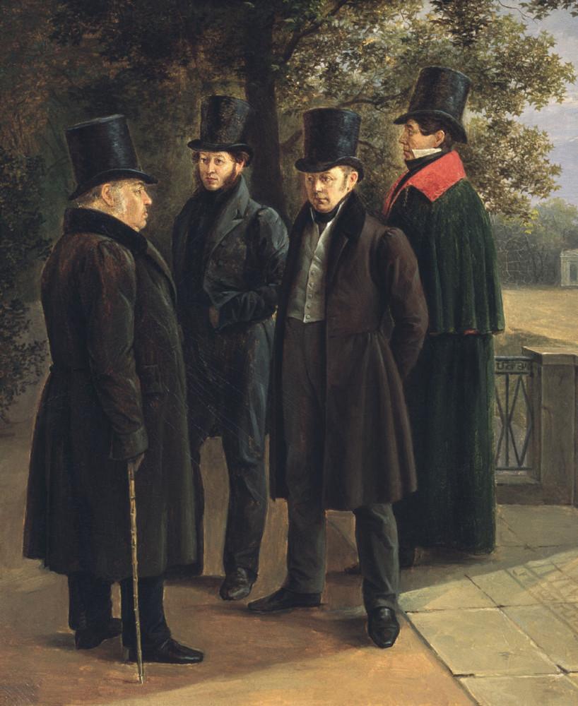 Григорий Чернецов (1802-1865)  Крылов, Пушкин, Жуковский и Гнедич в Летнем саду, 1832 год