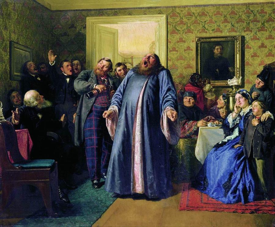 Н.В. Неврев (1830-1904) Протодиакон, провозглашающий на купеческих именинах долголетие, 1866 год