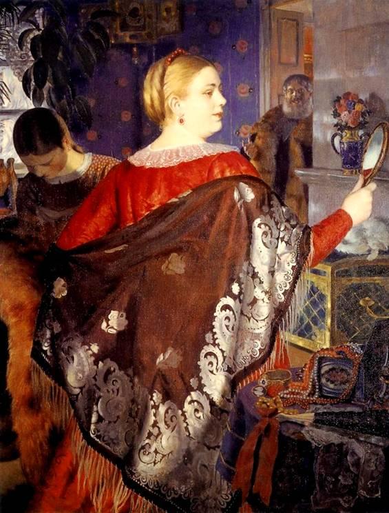 Б Кустодиев Купчиха с зеркалом 1918