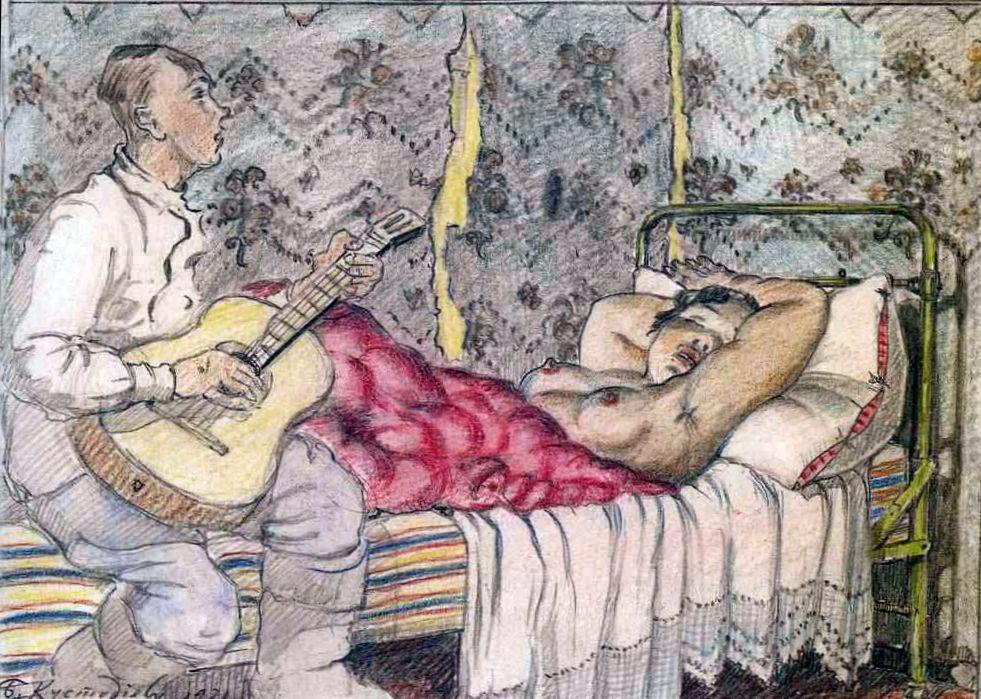 Кустодиев Под звуки гитары 1921 год