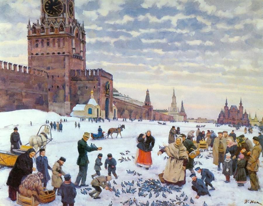 Юон Кормление голубей на Красной площади в 1890-1900 годах