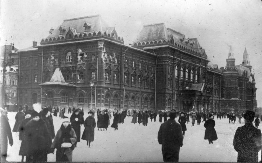 Разрушения в Москве здание городской думы  Воскресенская площадь