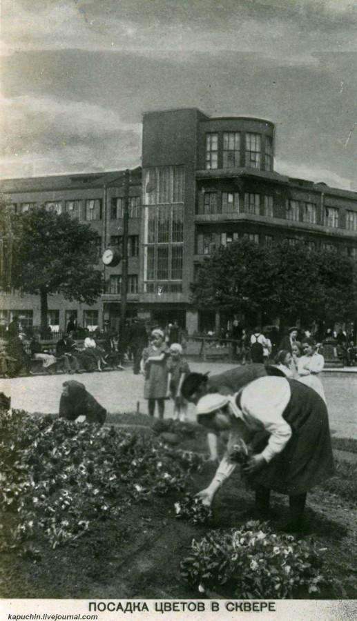 Посадка цветов в Ильинском сквере ок. 1935 года