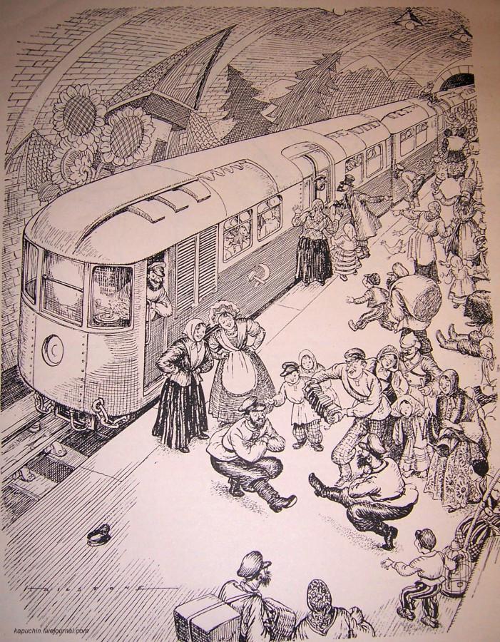 В час пик в московском метро, британская карикатура, 1936 год