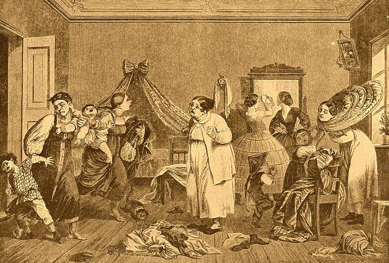 Переполох по случаю приезда гостей (сценка из помещичьего быта 1840-х годов) гравюра Брокша