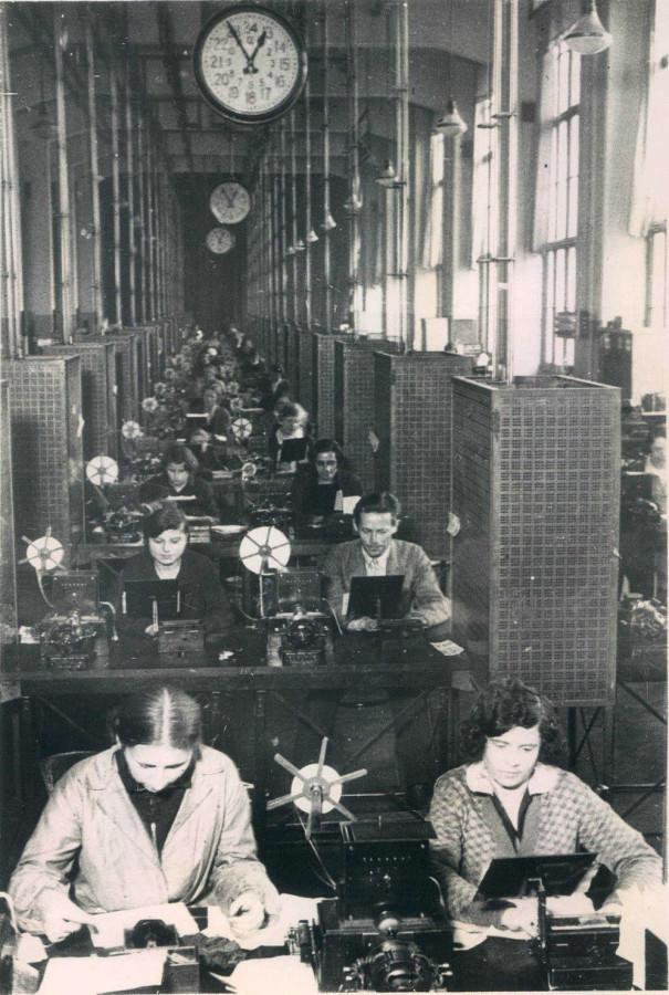 В зале Центрального телеграфа Москва 1932 год