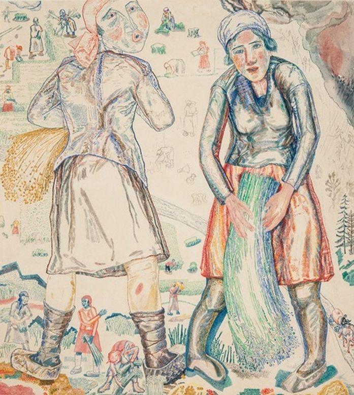 П.М. Кондратьев(1902-1985) Колхозницы, убирающие лён