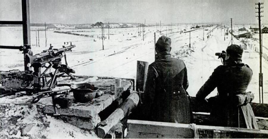 Немецкое боевое охранение около города Калинин 1941 год