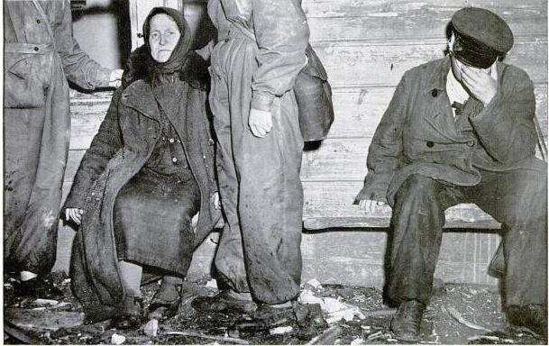 Из шести членов семьи  осталось после немецкого авианалета только четыре Вязьма 1941 год