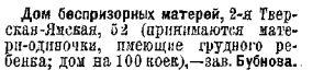 Дом беспризорных матерей  справка Вся Москва за 1927 год