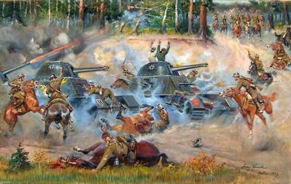 Бой поляков с танками