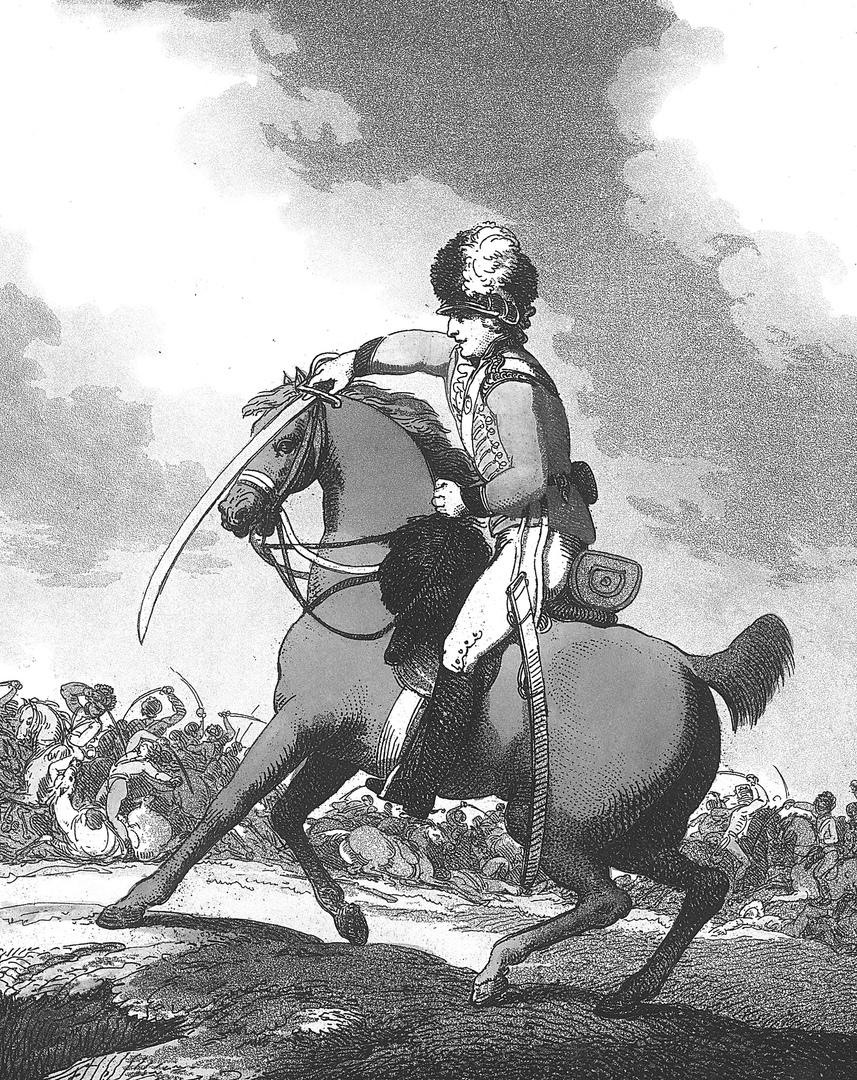 Парирование атаки на лошадь британским кавалеристом.