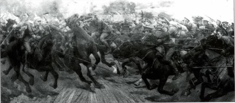Схватка британцев с германской кавалерий под Монсом.