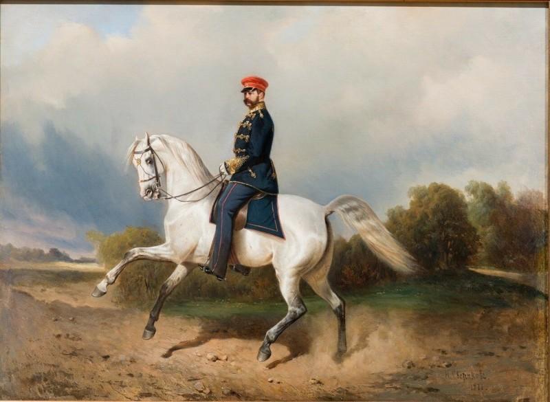 Сверчков - Портрет императора Александра Второго на лошади.