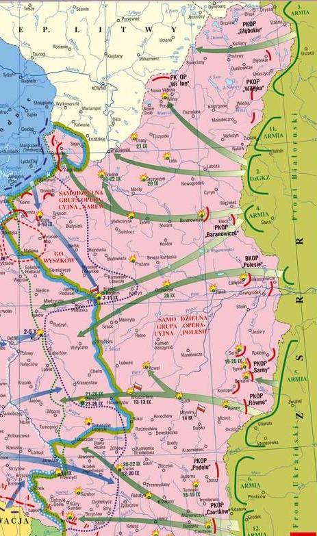 Карта боевых действий на сентябрь 1939 года.