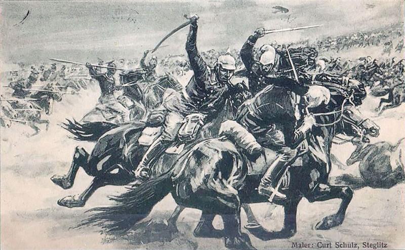 """Немецкий художник Curt Schulz- Steglitz. """"Германский наследный принц побеждает французов в сражении при Лонгви"""". Открытка. 1914 г. Германия."""