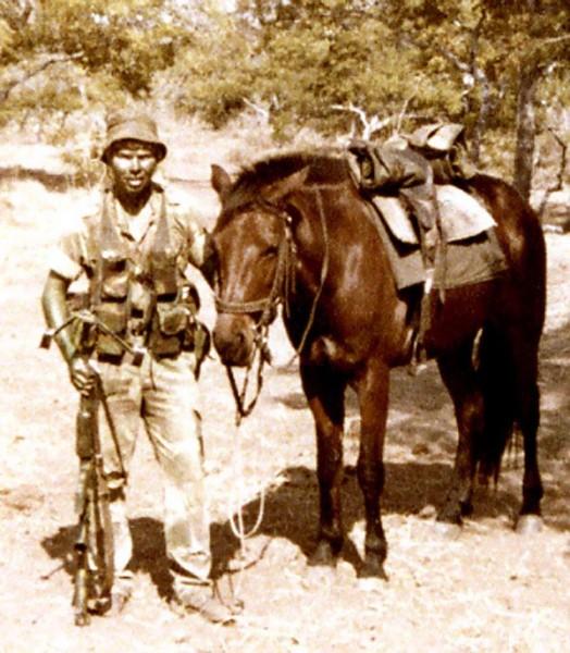 Родезия кавалерист с лошадью