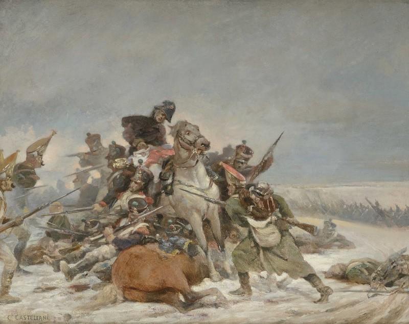 Бароне де Марбо отбивает знамя у русских гренадёр. Под ним кобыла Лизетта которая по его рассказу схватила одного из гренадёр зубами.
