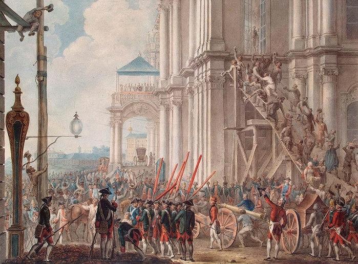Иоахим Кестнер. «Екатерина II на балконе Зимнего дворца, приветствуемая гвардией и народом в день переворота 28 июня 1762 года». 1760-е годы.