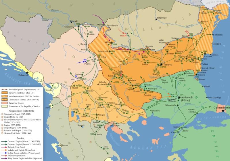 На фото: карта османской экспансии с 1371 года.