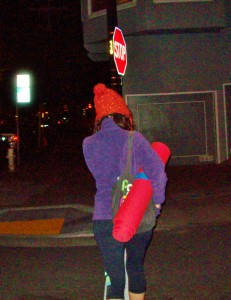 Yoga Mat on Dolores at night.